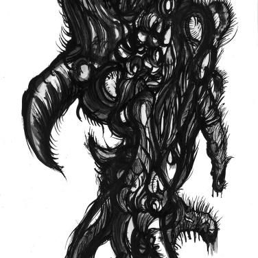 """""""SERIE BESTIAS DE UNIVERSO TRIANGULARES IRREGULARES"""" Tinta China sobre papel couche. 15 x 25 Cm. 2010"""