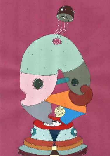 """""""MÓDULOS LÚDICOS PARA RELIGIOSOS BAJOS EN EGO Y DIVINIDAD"""". Acrílico + tinta china + marcador al oleo sobre papel cansón. 21 x 29 cm. 2014"""