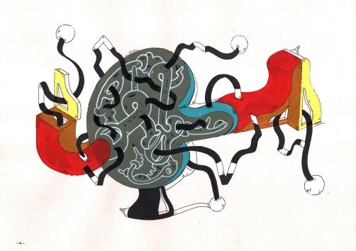 """""""DÚO BALANCINES DE AZARES MECÁNICOS ORGÁNICOS"""". Acrílico + Tinta China sobre papel cansón. 21 x 29 cm. 2014"""