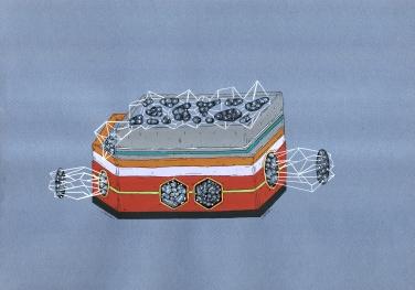 """""""EL COFRE DE LAS MICRO CULTURAS INTRA NATURALES MAGNÉTICAS"""". Acrílico + Tinta China + marcadores al oleo sobre papel cansón. 21 x 29 cm. 2014"""