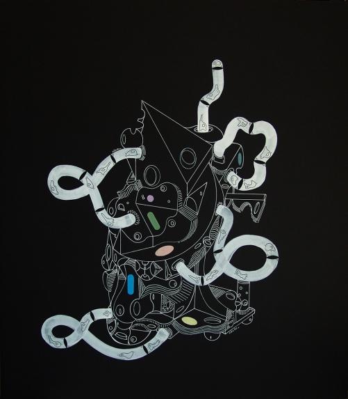 """""""RÍTMICAS OPERACIONES DE RESULTADOS PERECIBLES PARA EL IMAGINARIO LIBRE"""". Lápiz tinta Gel Blanco + acrílico sobre cartón espuma negro. 51 x 58 cm. 2014"""
