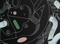 """Detalle de la obra """"RÍTMICAS OPERACIONES DE RESULTADOS PERECIBLES PARA EL IMAGINARIO LIBRE"""". Lápiz tinta Gel Blanco + acrílico sobre cartón espuma negro. 51 x 58 cm. 2014"""