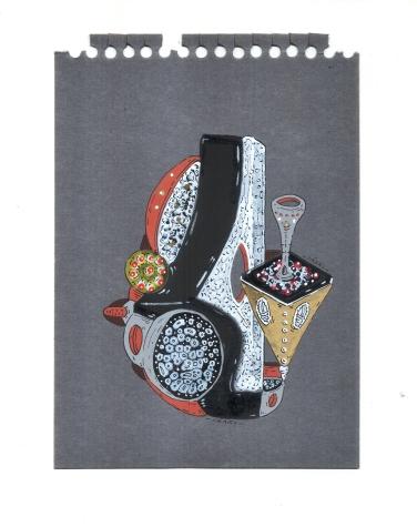 """SERIE MUSGOS ARTICULADORES DE OXIGENO A FORMAS PRÓFUGAS PROLIFERAS"". Acrílico + tinta china + marcadores al oleo sobre papel. 10 x 14,7 cm. 2014"