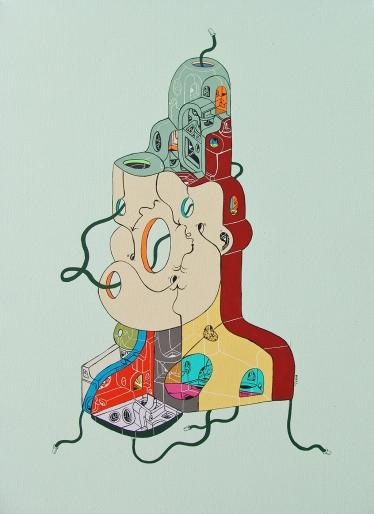 """""""MAQUINAS MUSICALIZADORAS DEL SILENCIO INVISIBLE"""". Acrílico sobre tela. 50 x 70 cm. 2014"""