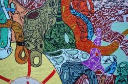 """Detalle de la obra """"SUSPENSIÓN DE ENSAMBLES EMBRIONARIOS MÚLTIPLES, POR EXCESO DE COMEDIA VERDADERA"""". Acrílico sobre tela. 100 x 120 cm. 2014"""
