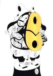 """""""SERIE LA LÍNEA CONTENEDORA DE LOS LÍMITES DEL ALMA"""". Tinta china + marcadores permanente + acrílico sobre cartón espuma. 21 x 28,5 cm. 2014"""