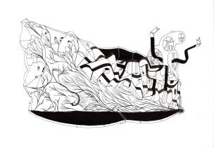 """""""SERIE LA LÍNEA CONTENEDORA DE LOS LÍMITES DEL ALMA"""". Tinta china + marcadores permanente sobre cartón espuma. 21 x 28,5 cm. 2014"""