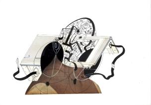 """""""SERIE LA LÍNEA CONTENEDORA DE LOS LÍMITES DEL ALMA"""". Collage + Tinta china + marcador permanente sobre cartón espuma. 21 x 28,5 cm. 2014"""