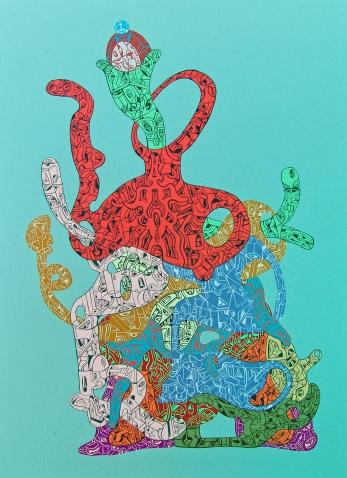 """""""HERMANA MENOR DE LOS ENSAMBLES SUSPENSIVOS MÚLTIPLES"""". Acrílico sobre tela. 50 x 70 cm. 2014"""