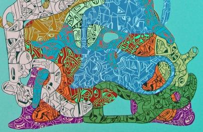 """Detalle de la obra """"HERMANA MENOR DE LOS ENSAMBLES SUSPENSIVOS MÚLTIPLES"""". Acrílico sobre tela. 50 x 70 cm. 2014"""