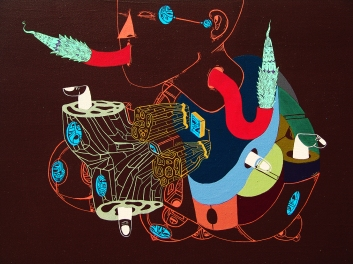 "Detalle de la obra ""PASAJERO DE CUERPO FRÁGIL E INFINITO"". Acrílico sobre tela. 50 x 70 cm. 2014"