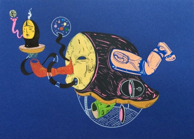 """RELATOS SEMILLEROS DE ALQUIMIAS ORALES FRÁGILES"". Acrílico + tinta china + marcadores permanente sobre papel cansón. 15 x 21 cm. 2014"