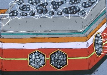 """Detalle de la obra """"EL COFRE DE LAS MICRO CULTURAS INTRA NATURALES MAGNÉTICAS"""". Acrílico + Tinta China + marcadores al oleo sobre papel cansón. 21 x 29 cm. 2014"""