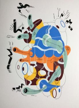 """""""SERIE LA INUNDACIÓN DE DIÁLOGOS Y POSIBILIDADES"""". Serigrafía + acrílico + tinta china + marcadores permanentes sobre papel. 18 x 24 cm. 2014"""