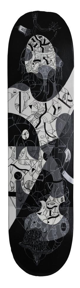 """""""ARCOS Y CUEVAS CURVAS POR UN DESLIZ DE HORIZONTE Y ENTREVELOS DESIGUALES"""". Acrílico + Marcador permanente a tinta y al óleo sobre tabla de skate de madera. 79,5 x 19,5 cm. 2015"""