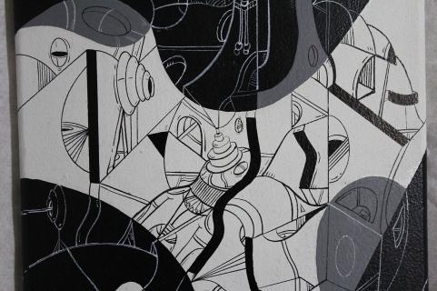 """Detalle de la obra """"ARCOS Y CUEVAS CURVAS POR UN DESLIZ DE HORIZONTE Y ENTREVELOS DESIGUALES"""". Acrílico + Marcador permanente a tinta y al óleo sobre tabla de skate de madera. 79,5 x 19,5 cm. 2015"""