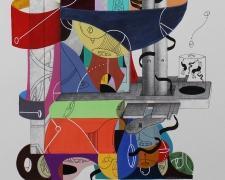 """Detalle de la obra """"DÚO DE DANZA PARA DESENMARAÑAR ALGODONES DE SU CARRIL COLONIZANTE"""". Acrílico + marcadores permanentes interviniendo lamina de molino desmotador de algodón. 27 x 37 cm. 2015"""