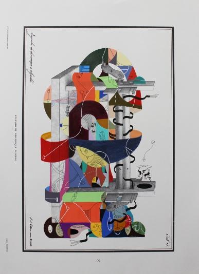 """""""DÚO DE DANZA PARA DESENMARAÑAR ALGODONES DE SU CARRIL COLONIZANTE"""". Acrílico + marcadores permanentes interviniendo lamina de molino desmotador de algodón. 27 x 37 cm. 2015"""