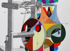 """Detalle de la obra """"DÚO DE DANZA PARA DESENMARAÑAR ALGODONES DE SU CARRIL COLONIZANTE"""". Acrílico + marcadores permanentes interviniendo lamina de rueda hiladora de algodón. 27 x 37 cm. 2015"""