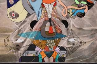 """Detalle de la obra """"EL FUTURO PAGANISMO DE DELICIAS MISTERIOSAS DEL AMOR"""". Acrílico + acuarela + tinta china sobre reproducción de la obra """"La Mañana"""" de Reyzner. 22,4 x 35,4 cm. 2015"""