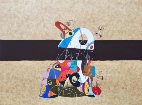 """""""ESQUELETO METAFÍSICO DE LA SIESTA DE UNA MONTAÑA"""". Acrílico + lápiz permanentes sobre cartón. 38 x 29 cm. 2015"""