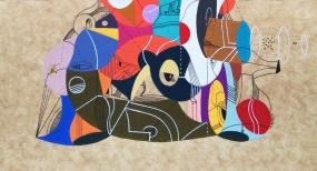 """Detalle de la obra """"ESQUELETO METAFÍSICO DE LA SIESTA DE UNA MONTAÑA"""". Acrílico + lápiz permanentes sobre cartón. 38 x 29 cm. 2015"""