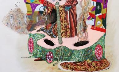 """Detalle de la obra """"GUERRERA EN MÚLTIPLOS DE DELIRIOS DE AMOR"""". Acrílico + marcadores al oleo + tinta china sobre imagen María Guerrero, en el drama """"Locura de amor"""". 27,5 x 38 cm. 2015"""