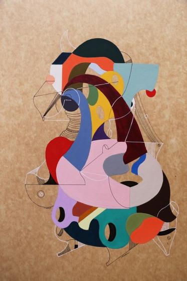 """LA ESTRABISIMA VIDA ITALIANA DE YOKONDA"". Acrílico + lápiz permanentes sobre cartón. 38 x 29 cm. 2015"