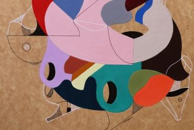 """Detalle de la obra """"LA ESTRABISIMA VIDA ITALIANA DE YOKONDA"""". Acrílico + lápiz permanentes sobre cartón. 38 x 29 cm. 2015"""