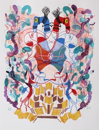 """""""SERIE CRUCES SIMULTÁNEOS DE SUEÑOS DANZANTES"""". Serigrafía + acrílico + tinta china + acuarela + marcadores permanentes sobre papel. 34 x 49 cm. 2015"""
