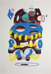 """""""SERIE LA INUNDACIÓN DE DIÁLOGOS Y POSIBILIDADES"""". Serigrafía + acrílico + tinta china + marcadores permanentes sobre papel. 18 x 24 cm. 2015"""