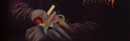 """Detalle de la obra """"EL MÓVIL SUTIL DE FUERZAS INVISIBLES DE GIOCONDA, EN TIEMPO DE CEGUERA UNIVERSAL"""". Acrílico + Marcador permanente a tinta y al óleo sobre reproducción de la obra """"La Gioconda"""" de Leonardo Da Vinci (1503 – 1519). 51,7 x 71 cm. 2016"""