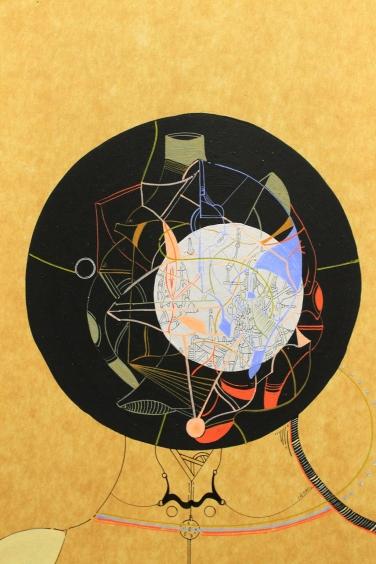 """""""DUO GYMKANA"""". Acrílico + marcador permanente sobre cartón. 38 x 29 cm (Aprox). 2016"""
