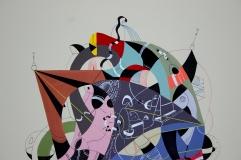 """- Detalle de obra – Serie """"En su huella llevaba lenguas que trazaban el tiempo y el espacio"""" Acrílico + Tinta China + Marcador permanente a tinta y oleo sobre papel. 29 x 38 cm. 2016"""
