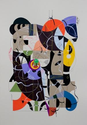 """Serie """"En su huella llevaba lenguas que trazaban el tiempo y el espacio"""" Acrílico + Tinta China + Marcador permanente a tinta y oleo sobre papel. 29 x 38 cm. 2016"""