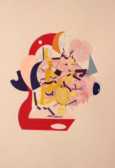"""""""Sueños horizontales de una ciudad ancestral palpitan en la maquina vertical"""". Acrílico + Tinta China + Acuarela + Marcador permanente a tinta sobre papel. 29 x 38 cm. 2016"""
