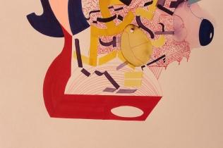 """DETALLE DE LA OBRA. """"Sueños horizontales de una ciudad ancestral palpitan en la maquina vertical"""". Acrílico + Tinta China + Acuarela + Marcador permanente a tinta sobre papel. 29 x 38 cm. 2016"""