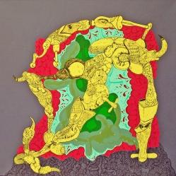 """""""SERIE JUGUETES PARA ESCAFANDRAS DE MADERA"""". Acrílico y esmalte al agua sobre Tela. 1 x 1 Mt. 2010"""