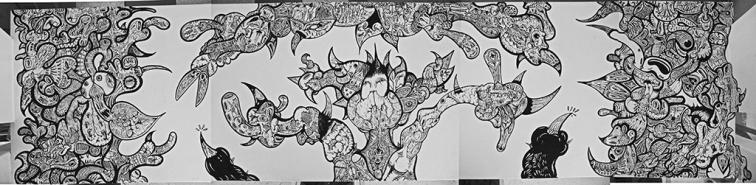 """""""EL COMEDOR DE MIGUEL ANGEL"""" Látex sobre mesón. Trabajo realizado para Galería CIAN. 2010"""