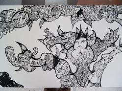 """Detalle de la obra """"EL COMEDOR DE MIGUEL ANGEL"""". Látex sobre mesón. Trabajo realizado para Galería CIAN. 2010"""