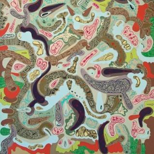 """Detalle de la obra """"TO"""". Acrílico + esmalte al agua sobre tela. 100 x 150 cm. 2010"""
