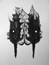 """""""SERIE TRAZO DE PELAJE SINIESTRO"""". Látex y Tinta China sobre cartón couche. 100 x 70 cm. 2011"""