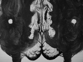 """DETALLE DE OBRA. """"SERIE TRAZO DE PELAJE SINIESTRO"""". Látex y Tinta China sobre cartón couche. 100 x 70 cm. 2011"""
