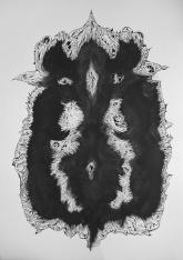 """""""SERIE TRAZO DE PELAJE SINIESTRO"""". Látex y Tinta China sobre cartón couche. 77 x 55 cm. 2011"""