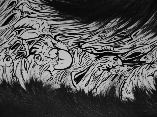 """DETALLE DE OBRA. """"SERIE TRAZO DE PELAJE SINIESTRO"""". Látex y Tinta China sobre cartón couche. 77 x 55 cms. 2011"""
