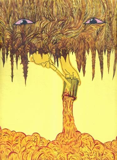 """""""EL ROSTRO ENCUBIERTO DE TODA VERDAD"""". Acrílico sobre madera. 22 x 30 cm. 2011"""