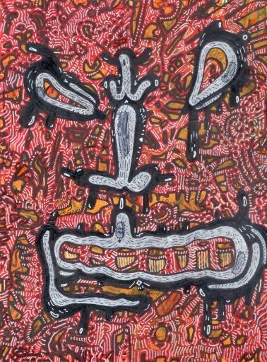 """""""EL ROSTRO ENCUBIERTO DE TODA VERDAD"""". Acrílico sobre cartón couche. 12 x 16,5 cm. 2008 – 2012"""