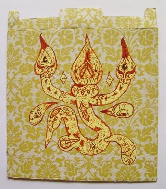 """ESPECIAL ESPACIAL CARTON MAYO EXTRAÑOS"". Acrílico sobre cartón impreso. 32 x 28 cm. 2011 – 2012"