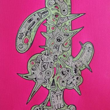 """""""FLORA PARA SENSACIONES MORBICAS Y SOMNIFERAS CASERAS"""". Esmalte al agua + Acrílico + Marcador permanente sobre papel. 47 x 31 cm. 2011"""