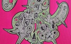 """DETALLE DE OBRA. """"FLORA PARA SENSACIONES MORBICAS Y SOMNIFERAS CASERAS"""". Esmalte al agua + Acrílico + Marcador permanente sobre papel. 47 x 31 cm. 2011"""